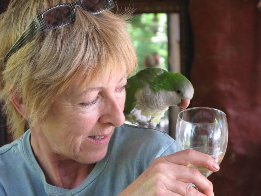 Annie Stewart and parrot