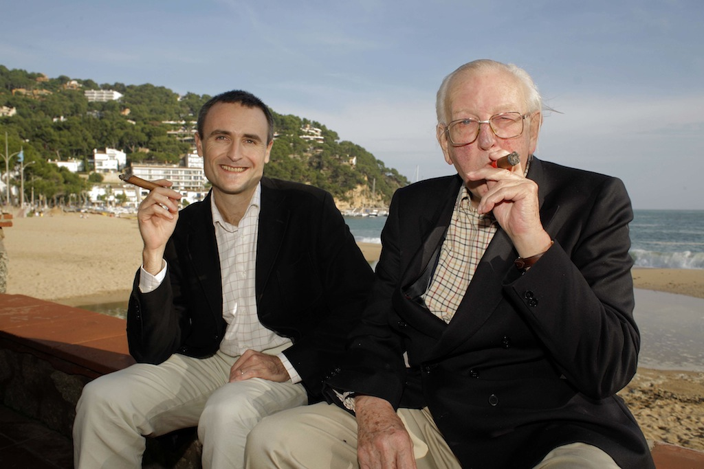tom sharpe in llafranc catalonia with mark stucklin and big cigar