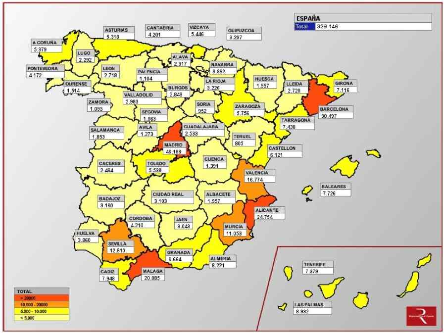 Spanish property market by province, sales volumes 2013