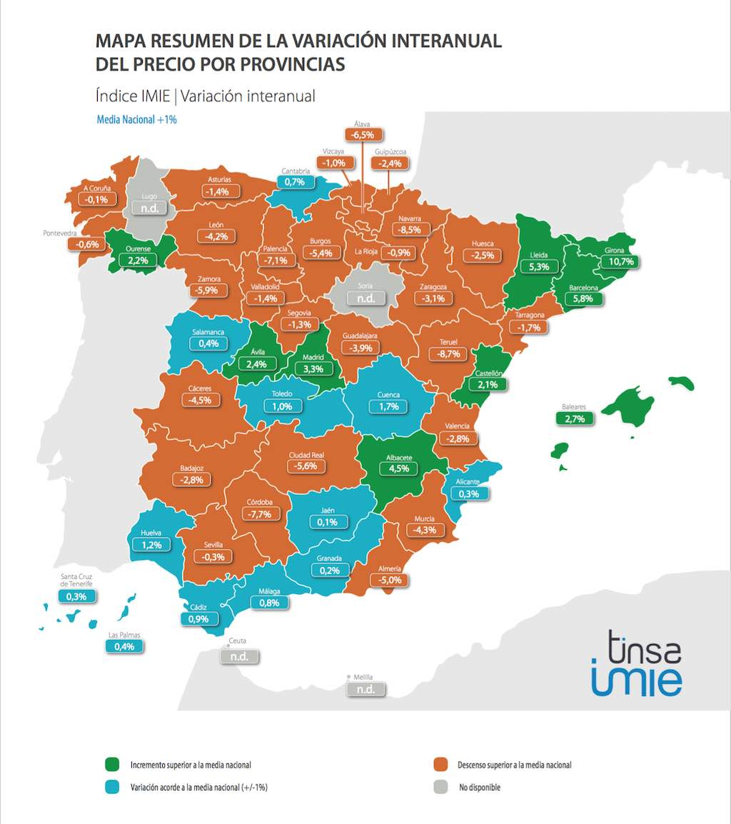 Tinsa Spanish house price index 2015. Provincial variations.