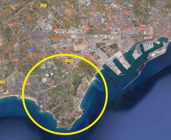 Area map of the BCN World site, just south of the city of Tarragona, and close to the theme park PortAventura.