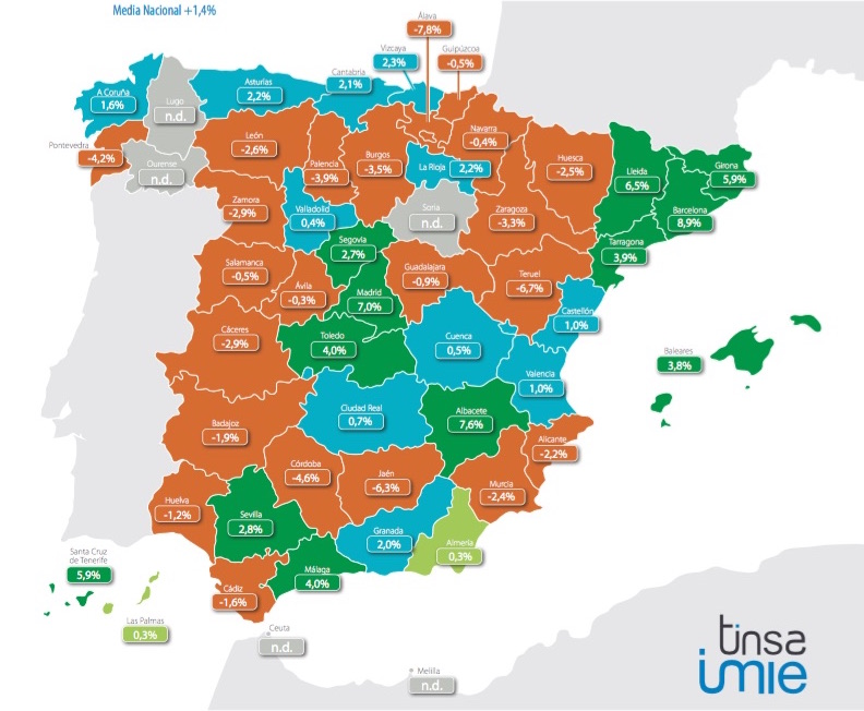 spanish house price change Q1 2016