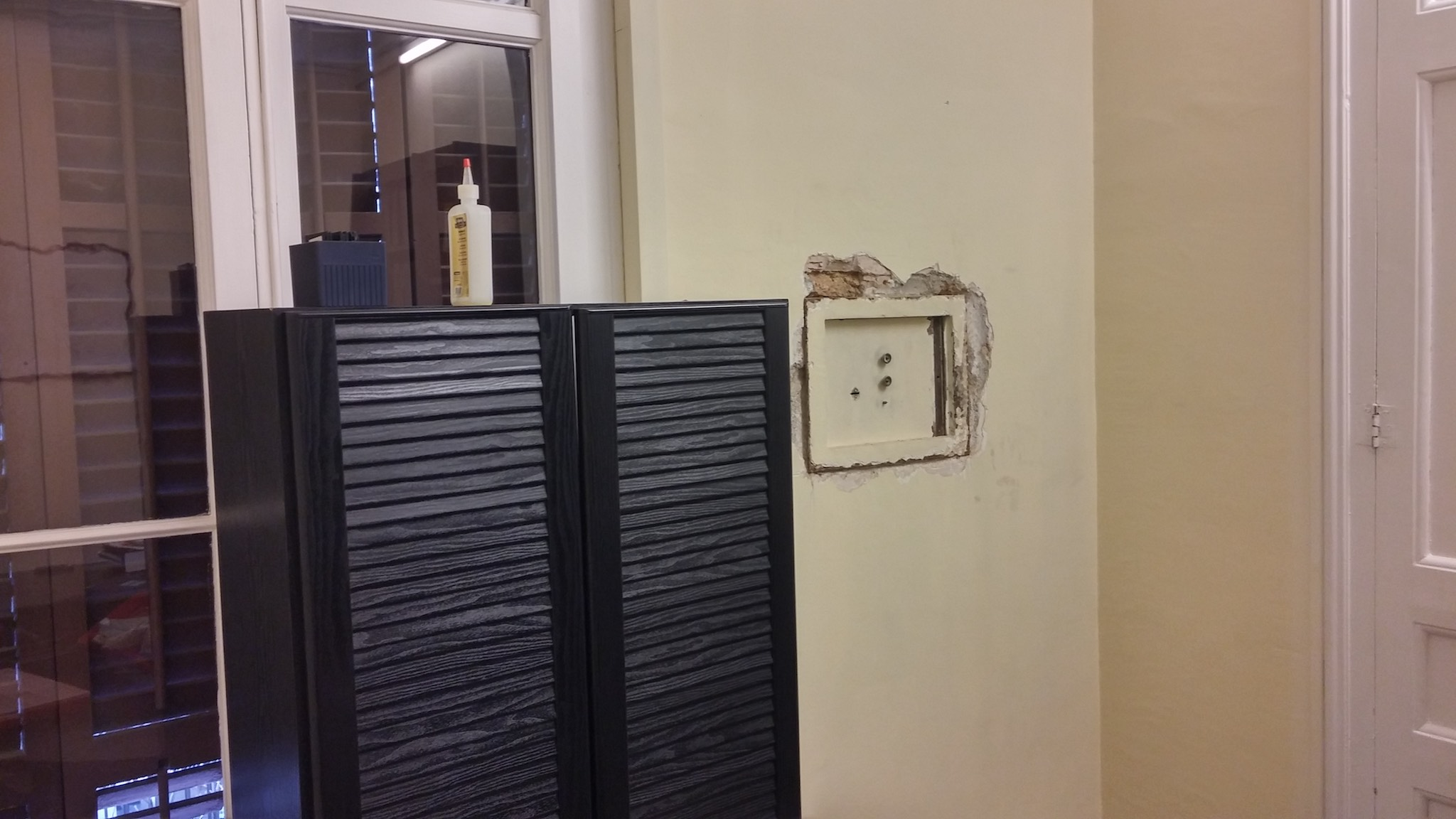 The safe in the flat below burglars tried to hammer out of the wall at 4am.