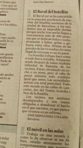 Botellón in the Raval district of Barcelona, letter of complaint to La Vanguardia
