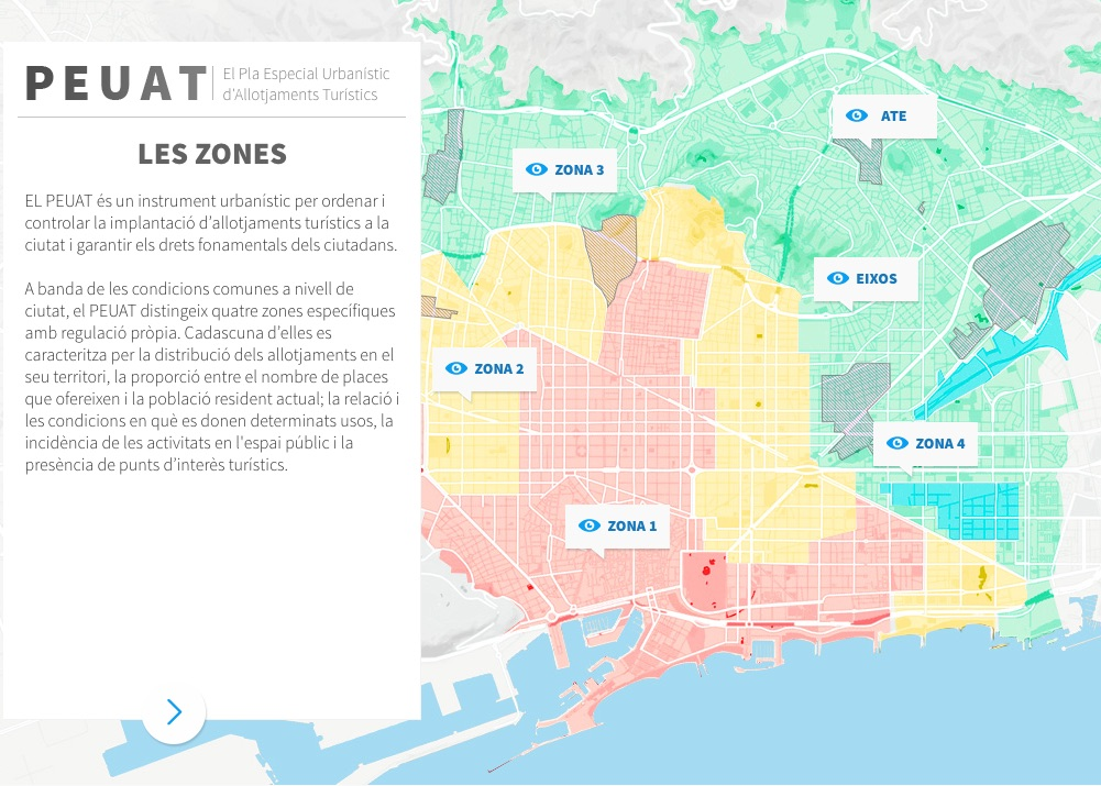 Barcelona tourist accommodation and holiday rental regulations plan by zones