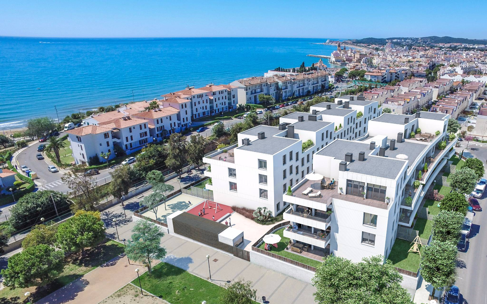 Render of one of Neinor Homes developments on the Spanish coast