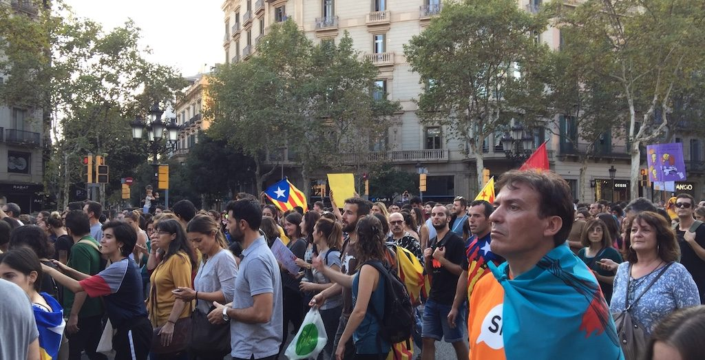 Catalan separatists march in favour of breaking away from Spain