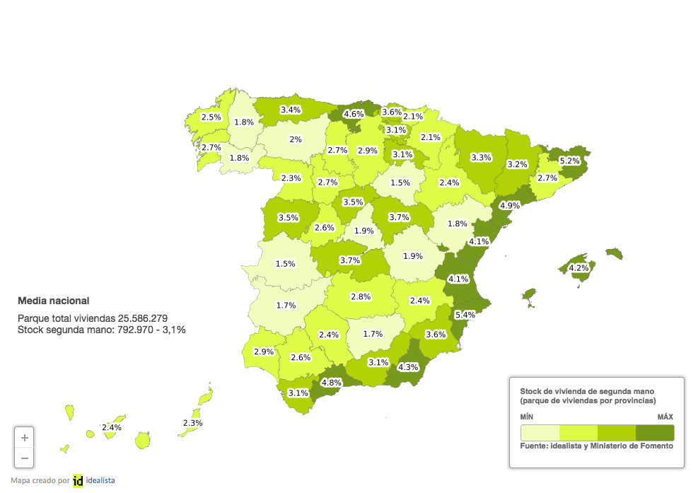 Resale housing inventory per province, % of total provincial stock of homes in Spain