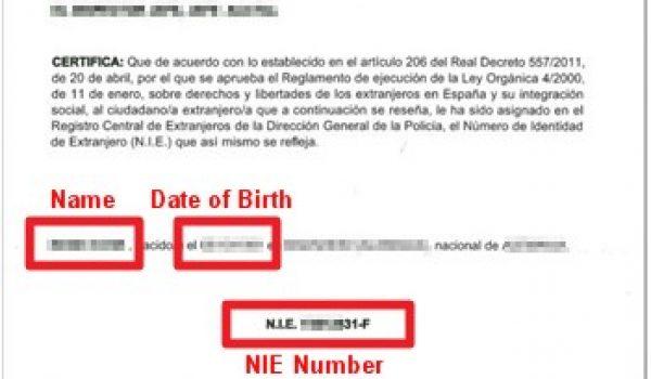 spanish nie number