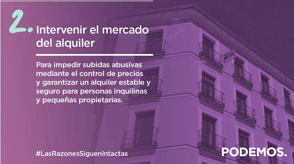Podemos priority #2: Intervene in the rental market